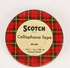 Vintage Scotch Tape Can Tin Cellulose Transparent No 600 Empty