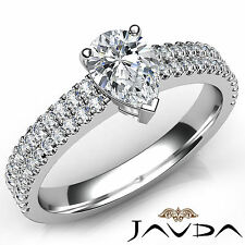 Dazzling Pear Diamond Engagement Halo Pave Set Ring GIA G Color VS2 Platinum 1Ct