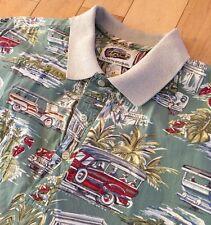 VTG Art Of Eddy Y By Reyn Spooner Hawaiian Polo Shirt M. Woodie Cars