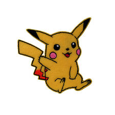 Embroidered  Pikachu Pokemon Sew & Iron On Appliqué Patch On Yellow Felt