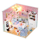 Wooden Miniature dolls house Doll house DIY Kit -Pink Bedroom/English/furniture