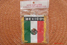 BANDERA MEXICO MINI BANNER FLAG with BRASS STAFF & SUCTION CUP