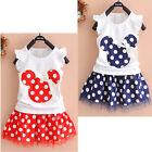 NEW Cute Kids Baby Girl Minnie Mouse Party Dress Vest Skirt Toddler Clothes 1-4Y