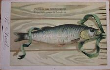 1905 Color Litho First/1st of April Postcard: Fish & Ribbon on Wooden Board