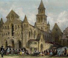 Vue de l'eglise Notre Dame de Poitiers - Gravure aquarelle originale 19e