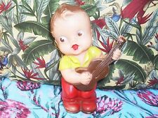 Squeaky squeak Boy with Guitar vintage toy doll