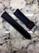22mm Carbon Fiber Watch Band Wrist Strap Black Leather / Red Stitch FREE SHIP