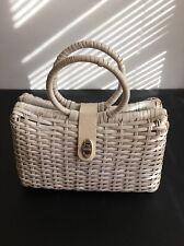 Hong Kong Wicker Handbag Woven White Leather Trim Purse Vintage 60s