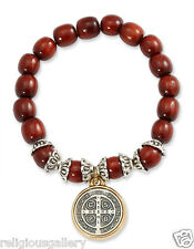 New St. Benedict Two Tone Medal Pendant Cherry Wood Beads Bracelet Made in U.S.A