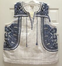 NWT LUCKY BRAND Jeans Tunic Tank Peasant Top Lounge Sheer Indian Embroidery XL