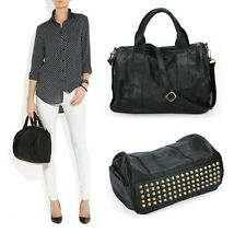 New Women's Celebrity Studded Bottom Duffel PU Leather Handbag Shoulder Bag Gift