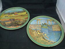 Pair of 2 Vintage Trays by Van Gogh Sunshine Biscuits Bridge & Gardens 13 1/2""
