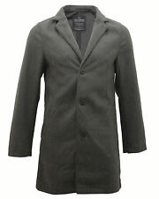 Mens Threadbare Long Cromby Wool Mix Tailored Checked Trench Overcoat Jacket