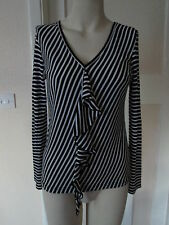 MARKS & SPENCER AUTOGRAPH BLACK & WHITE STRIPE TOP LONG SLEEVES SIZE 12 NEW