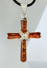 "Baltic Honey Amber Cross with CZ  X in Center 1-1/2"" Tall 18"" Leather Cord"