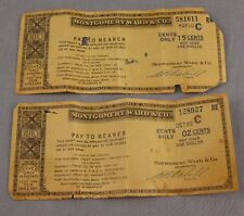 Montgomery Ward Vintage Pair of Coupons Refund Checks 1949-1950 Pay to Bearer