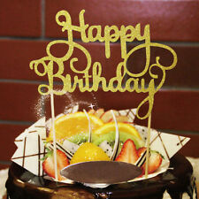 Happy Birthday Candle Party Cake Topper Supplies Decoration Gift SILVER SET