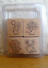 2008 Stampin Up A FLOWER FOR ALL SEASONS 4pc RUBBER INK STAMP SET Frog Cardinal