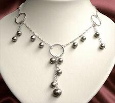 925 ECHT SILBER *** Collier Kette Perlen grau