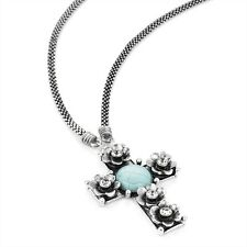 A BURNISHED SILVER EFFECT, CRYSTAL & TURQUOISE COLOUR BEAD CROSS CHAIN NECKLACE