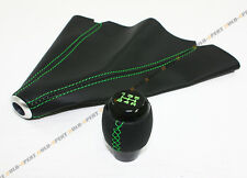M10 X 1.5 BLK LEATHER SHIFT KNOB W/ GREEN STITCHING+ LEATHER BOOT FOR HONDA