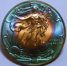 2017 American Silver Eagle 1 Oz Coin Monster Rainbow 2 sided Toned US Mint Box S