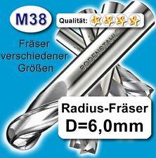 Radius-Fräser R3x80mm, D=6mm, Schaftfräser, M38, vergl. HSSE, HSS-E