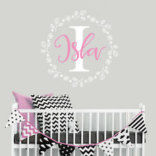Personalise Baby Nursery Room Little Girl Monogram Sticker Decal Decor