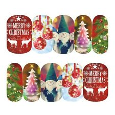 Nail Art Sticker Transfer Stickers Xmas Elves Tree & Baubles (DS411)