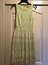 BETSEY JOHNSON Lime Green Dress With White Lace Overlay Sleeveless Size 6