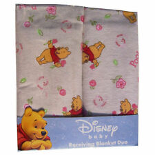 """SALE 2 Receiving Blankets Flannel 30""""x30"""" Baby Girl Pooh & Roses NEW REDUCED"""