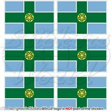 DERBYSHIRE Flag Derby, England UK 40mm Mobile Cell Phone Mini Stickers-Decals x6
