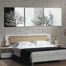 3pc Black White Tree Abstract Hand Painted Wall DECOR Art Oil Painting Canvas