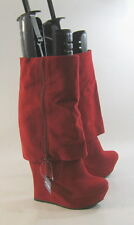 "RED 5.5"" high wedge heel 1.5"" platform  round toe mid-calf sexy boot   size  7"