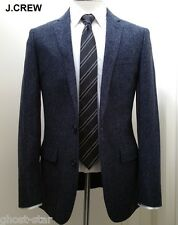 J.CREW Ludlow 36S tweed herringbone wool navy blue blazer jacket sport coat 36 S