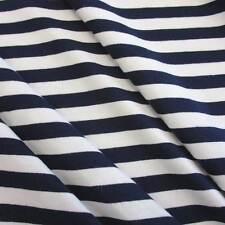 Stoffa Al Metro Cotone Jersey marine bianco Jersey righe A righe Nuovo