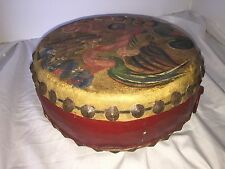 Antique Chinese Handpainted Leather and Wood Drum, Early 1900's Trap Set 10""