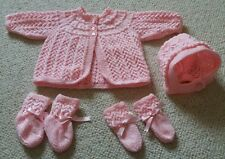 NEW Hand knitted matinee cardigan bonnet mittens booties baby girl 0-3m pink set
