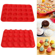 24 Cup Cavity Muffin Silicone Mini Cookies Cupcake Bakeware Pan Tray Mould LA