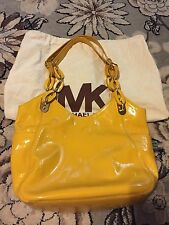 MICHAEL KORS LILLY YELLOW PATENT LEATHER CHAIN LINK PURSE HANDBAG MK HTF COLOR!