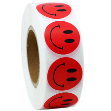 "Red Smiley Face Happy Stickers 1"" Inch Round Circle Teacher Labels 1000 Total"