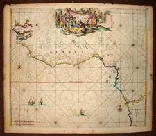 CARTE ANCIENNE ORIGINALE DU GOLFE DE GUINEE par DE WIT 1675 antic old map