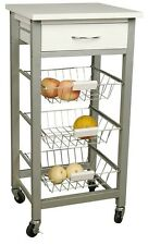 Protenrop 4 Tier Kitchen Trolley White & Stainless Steel 3 Baskets on Wheels