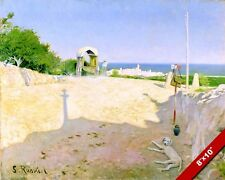SITGES SPAIN SPANISH BEACH MEDITERRANEAN LANDSCAPE PAINTING ART CANVAS PRINT