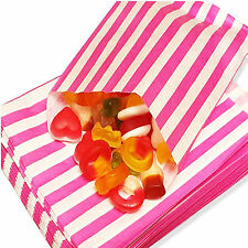 """100 PINK CANDY STRIPE PAPER PARTY GIFT SWEET BAGS 5"""" x 7"""" - CANDY CART WEDDING"""