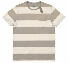 *New* J.Crew Men's Medium Pocket T-Shirt in Sun-Faded Surf Stripe - Ivory / Tan