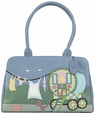 20% OFF CICCIA GYPSY CAT BLUE LEATHER SHOULDER BAG  RRP £130