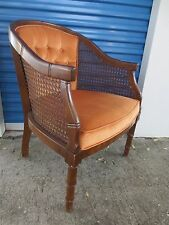 Barrel Chair Faux Bamboo Hollywood Regency Mid-century Tube Lounger Wicker Cane