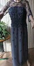 Blueish Gray Embellished Evening Dress By Jovani.