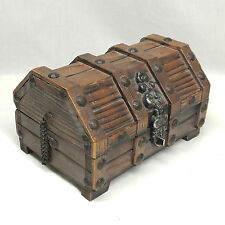 Vintage Wood Pirate Treasure Chest Trinket Jewelry Box w/ Removeable Tray, 1960s